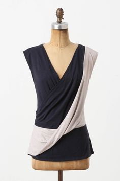 Crisscrossed Top: the draping fabric at that great angle can camouflage a midsection!