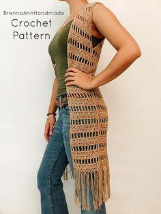 CROCHET PATTERN - Crochet Lightweight Extra Long Vest, Crocheted Fringe Cardigan, Beginner / Intermediate DIY Duster - The Sahara Vest