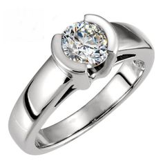 Brilliant Round Cut Cathedral Half Bezel Set Solitaire Engagement Ring in SOLID 14K Gold