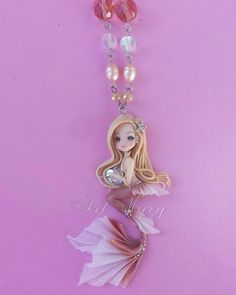 Necklace Mermaid in fimo, polymer clay Polymer Clay Princess, Polymer Clay Mermaid, Polymer Clay Owl, Polymer Clay Figures, Polymer Clay Projects, Clay Crafts, Polymer Clay Jewelry, Mermaid Necklace, Cute Clay