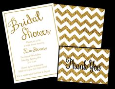 Printed or digital gold sparkly chevron notes. Thank you notes measure 3.5 x 5.  Two options for purchasing:  -Digital DIY PDF - Purchase and print from home or at any local copy shop! You will receive the template emailed to you so you can print as many thank you notes as you need. No invites will be mailed to you. Use code FREESHIP at checkout so you are not charged shipping.  -Printed and Shipped - This includes thank you notes that will be printed and shipped directly to you. The…