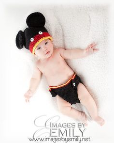 Baby Set  Mouse Hat and Diaper Cover fits newborn to by NoisyBoyz, $30.00