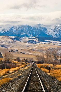 Montana, railroad tracks, on rails, railway, mountain, clouds, beautiful, stunning, landscape, photograph, photo