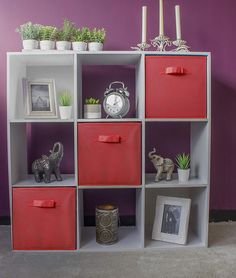 HomeZone® 9 Cube Storage Unit with Red Canvas Folding Boxes Kids Toy Games Girls Boys Bedroom Shelves Shelving Childrens Playroom Nursery Office Unit + 3 Red Boxes) Storage Unit, Nursery Office, Cube Storage, Kids Room, Box Room Nursery, Shelves In Bedroom, Cube Storage Unit, Nursery Storage, Childrens Playroom