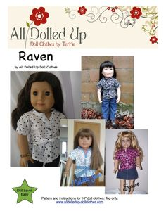 """18"""" doll clothes pattern now available only at www.alldolledup-dollclothes.com Fits American Girl dolls"""