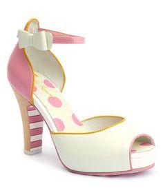 Look at this Lola Ramona #zulilyfind! White & Yellow Angie Leather Sandal #zulilyfinds