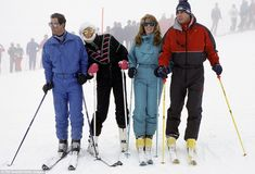 Favourite pastime: Prince Charles and Diana with the Duke And Duchess Of York during a ski...