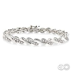 1 Ctw Round Cut Diamond Wave Tennis bracelet in 10K White Gold