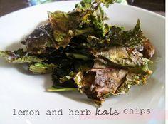Lemon and herb kale chips