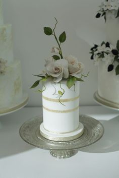 Petite wedding cake with gold stripes and intricate sugar flowers | Victoria Made
