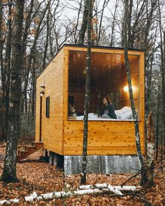 """Tiny Homes on Instagram: """"Follow us 👉@tinyhomes for more tiny home inspo!⠀⠀ -⠀⠀ This modern minimalist tiny house has been stationed in the middle of the woods in…"""""""