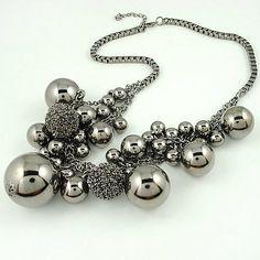 Fashion Beads Charm Necklace Gunblack Beads Necklace