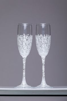 personalized wedding glasses Toasting flutes white Glasses