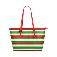 Red, green and white multi striped tote bag Leather Tote Bag/Large (Model 1651).Bold red, green and white striped bag would be very pretty accessory to wear for Christmas holidays or even Italian themed events.   #redgreenandwhite