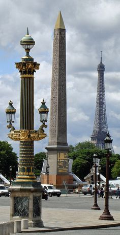"Place de la Concorde, Paris. In the center, the grand obelisk that Napoleon brought back from his Egyptian campaign. Its twin, known as ""Cleopatra's Needle"" can be found in New York's Central Park."
