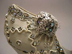 ~Dior Shoes - detail - 1957 - House of Dior - Design by Roger Vivier - Silk, plastic, glass~ The Metropolitan Museum of Art