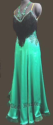 Ballroom Everday Standard Tango Waltz Dance Dress US 6 UK 8 Green Black Fringing   eBay