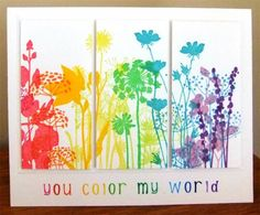 Feel the Joy - Unity Stamp Co - cool floral rainbow technique