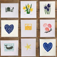 A SALE in my #folksy shop. All these lino prints are £5 each with free uk p&p. See link to my shop in my bio #crocus #spring #starfish #shell #daffodil #beehive #whale #heart #shells #linocut #linoprint #interiordecor #interiordesign #interiorinspiration #printmaking #handmade #handprinted