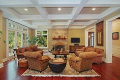 Coffered style ceiling with recessed lighting for living room