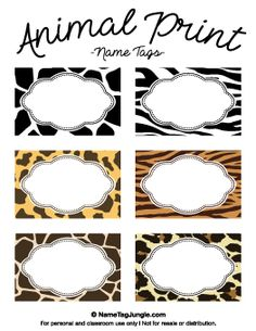 Animal Print Name Tags, other designs on this site too