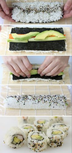 Sushi Rolls For Your Holiday Party Is Easy!, Making Sushi Rolls For Your Holiday Party Is Easy!, Making Sushi Rolls For Your Holiday Party Is Easy!, Sushi Roll Without a Sushi Mat Easy Sushi Rolls, Making Sushi Rolls, Easy Rolls, Veggie Sushi Rolls, Making Sushi At Home, Homemade Sushi Rolls, Rolls Rolls, Home Made Sushi, Shrimp Sushi Rolls