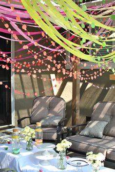 Start in the center of the ceiling and drape garland or tuele out to the ceilings edge. Streamer Decorations, Party Streamers, Tea Party Decorations, Ceiling Streamers, Paper Garlands, Party Props, Diy Party, Party Ideas, Circus Birthday