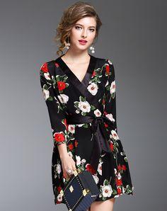 #AdoreWe #VIPme A-Line Dresses - DAIPYA Black Silk 3/4 Sleeve Elegant Printed Mini Dress - AdoreWe.com