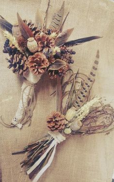 Wild Feather & Pine Cone Bouquet, Autumn Wedding Bouquet, Rustic Wedding, Woodla feathers with pine cones and Riverbed plants. Pinecone Bouquet, Feather Bouquet, Rustic Bouquet, Rustic Wedding Flowers, Wedding Colors, Hand Bouquet, Bridal Flowers, Fall Bouquets, Fall Wedding Bouquets