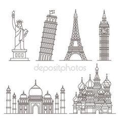 Ícones de Marco. estátua da liberdade, torre de pisa, torre eiffel, big ben, taj mahal, Catedral de São Basílio. ilustração vetorial