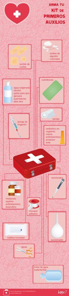 Un kit de primeros auxilios, ¿ya tienen el suyo? #infografia #cool #primerosauxilios #hospital