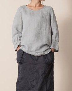 Grey Blue Shirt Baumwolle Leinen Shirt Overshirt von fashiondress6, $55.50