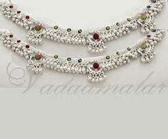 Indian Jewelry Earrings, Silver Jewellery Indian, Anklet Jewelry, Silver Jewelry, Silver Anklets Designs, Anklet Designs, Antique Jewellery Designs, Gold Jewellery Design, Silver Heels Wedding