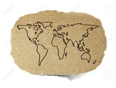 Drawing World Map On A Recycle Paper Stock Photo, Picture And Royalty Free Image. Image 14917789.