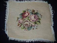 Vintage wol rozen flora needlepoint hand werkte door abfabs10
