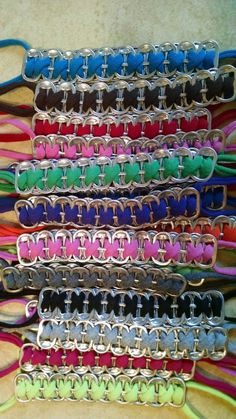 100 % Recycled Pop Top Bracelet made from Energy and/or Soda Pop Drink Pull Tabs and recycled t-shirts. There are no clasps or rings, u simply tie Soda Tab Crafts, Can Tab Crafts, Cute Crafts, Yarn Bracelets, Bracelet Crafts, Soda Tab Bracelet, Beer Cap Art, Soda Can Tabs, Pop Cans