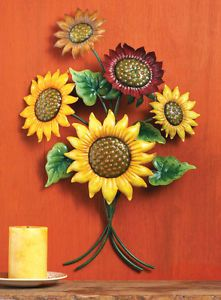 Collections Etc Colorful 3-D Iron Sunflower Wall Art Decoration