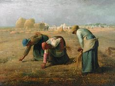 Jean-Francois Millet, 'The Gleaners' (1857). Three anonymous gleaners gather what's left of the harvest, while a bountiful pastoral scene takes place in the distance. The contrast is stark. The repetitive, backbreaking work is played out across a series of stances: bending down, picking up and straightening out again. Millet carefully sculpts the figures with the soft light of the setting sun, rendering the women humble and dignified. 28 May 2012