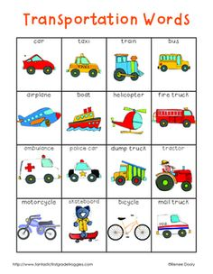 This is a pack of for your writing center or word wall. It is a set of transportation words and contains a full page list (color and black and white versions), word strips, and word wall cards. My kids love to use them to help them spell words or come up with writing ideas.