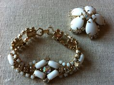 Vintage Mid Century MIlk Glass and Borealis Rhinestone Bracelet and Brooch Set by AntoinettesCake on Etsy