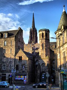 The Hub and Cowgate from Candlemaker Row, The Grassmarket, Old Town, Edinburgh