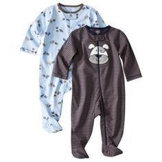 JUST ONE YOU  Made by Carters ® Newborn Boys' 2 Pack Dog Sleep N' Play Set - Grey/Blue