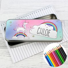 ersonalised Unicorn Pencil Tin with Pencil Crayons   This stylish Unicorn Pencil Tin is an ideal gift to help keep their stationery safe and sound!  This cute pencil tin can be personalised with a name up to 12 characters long. All text will appear in upper case.  The Pencil Tin comes supplied with 12 colouring pencils (these will not be personalised). RRP £14.99  Ideal for #BacktoSchool, #Birthdays and #Christmas #unicorn #unicorngifts #personalisedgifts #gifts