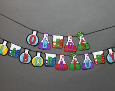 Science Beakers Birthday Banner