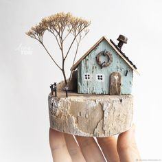 'Sweet Home' Composition from wood, driftwood art. Internet-shop Fair of Masters. Wooden Art, Wooden Crafts, Clay Crafts, Home Crafts, Diy And Crafts, Driftwood Wall Art, Driftwood Projects, Clay Houses, Miniature Houses