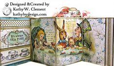 Stamperia Alice Tea Party Treasure Box - Kathy by Design Mini Scrapbook Albums, Mini Albums, Book Crafts, Paper Crafts, Art Crafts, Vinyl Crafts, Alice In Wonderland Crafts, Alice Tea Party, Mini Album Tutorial