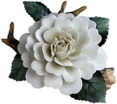 ANDREA BY SADEK BEAUTIFUL WHITE CAMELLIA ON BRANCH, NIB