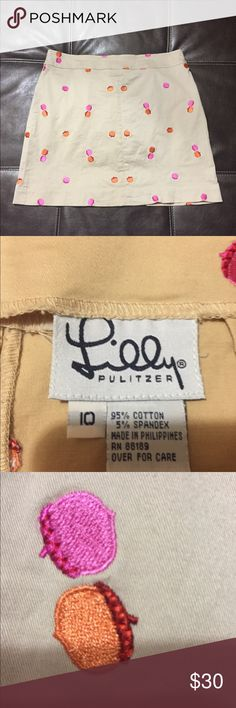 ✨Reduced Price✨Lilly Pulitzer Khaki Skirt Embroidered Acorn Design Lilly Pulitzer Skirts