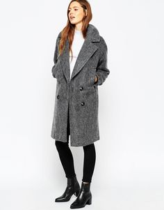 Image 1 ofASOS Pea Coat in Oversized Fit