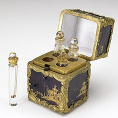 Louis XV bronze & enamel perfume necessary, 18th century. Antique Perfume Bottles, Perfumes Vintage, Vintage Perfume Bottles, Bottle Box, Bottle Vase, Beautiful Perfume, Objet D'art, Vases, Decanter